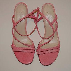 Talbots Pink Leather Strappy Slingback Kitten Heel